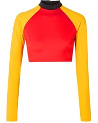 Solid & Striped - + Re/done The Malibu Cropped Color-block Rash Guard - Lyst