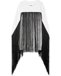 MM6 by Maison Martin Margiela - Fringed French Cotton-terry Sweatshirt - Lyst