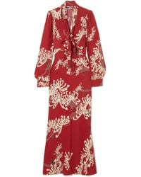McQ Alexander McQueen | Pussy-bow Printed Crepe Maxi Dress | Lyst