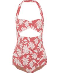 Miu Miu - Cutout Floral-jacquard Halterneck Bodysuit - Lyst