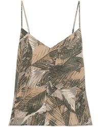 L'Agence - Jane Printed Silk-satin Camisole - Lyst