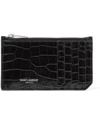 Saint Laurent - Croc-effect Patent-leather Cardholder - Lyst