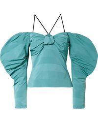 Hellessy - Lauren Off-the-shoulder Cotton-blend Faille Top - Lyst