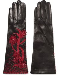 Prada - Bead-embellished Leather Gloves - Lyst