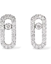 Messika - Move Uno 18-karat White Gold Diamond Earrings - Lyst