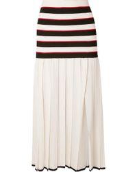 Sonia Rykiel - Pleated Striped Cupro Skirt - Lyst
