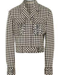 Bottega Veneta - Eyelet-embellished Gingham Cotton And Wool-blend Jacket - Lyst