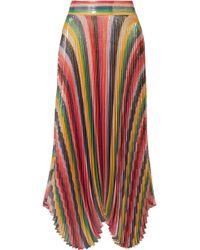 Alice + Olivia - Katz Pleated Metallic Silk-blend Lamé Skirt - Lyst