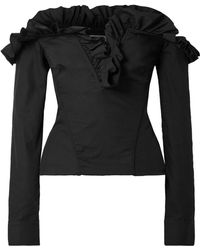 Marques'Almeida - Off-the-shoulder Ruffled Lace-up Cotton-poplin Top - Lyst