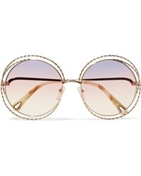 Chloé - Aviator-style Gold And Silver-tone Sunglasses - Lyst