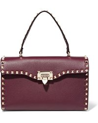 Valentino | The Rockstud Textured-leather Tote | Lyst