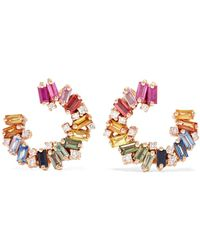 Suzanne Kalan - Spiral 18-karat Rose Gold, Sapphire And Diamond Earrings - Lyst