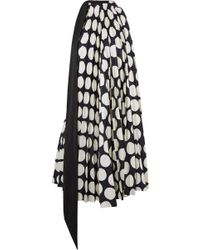Awake - Back To Front Reversible Pleated Polka-dot Crepe Dress - Lyst