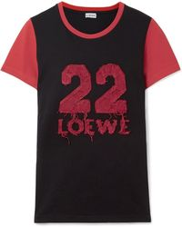 Loewe - Appliquéd Cotton-jersey T-shirt - Lyst