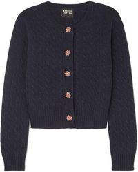 Markus Lupfer - Harper Crystal-embellished Cable-knit Wool Cardigan - Lyst