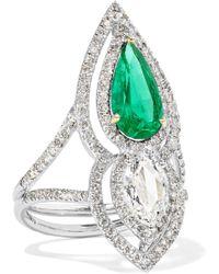Amrapali - 18-karat Silver, Gold, Diamond And Emerald Ring - Lyst