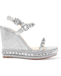 Christian Louboutin - Pyraclou 110 Spiked Metallic Textured-leather Wedge Sandals - Lyst