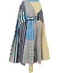 Marni - Tie-front Checked Taffeta Midi Skirt - Lyst