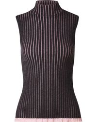 Burberry - Striped Ribbed Cashmere And Silk-blend Turtleneck Top - Lyst