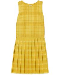 Tomas Maier - Pleated Checked Cotton-voile Dress - Lyst