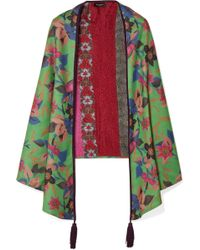 Etro - Reversible Suede-trimmed Printed Cashmere And Silk-blend Scarf - Lyst