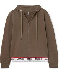 Moschino - Intarsia-trimmed Stretch-cotton Fleece Hoodie - Lyst
