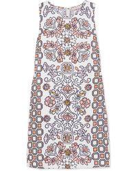 a5124239c890f Tory Burch - Hicks Garden Printed Linen-blend Mini Dress - Lyst