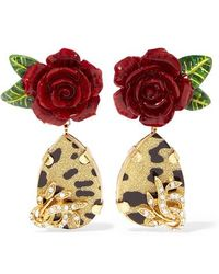 Dolce & Gabbana - Gold-tone, Enamel And Crystal Clip Earrings - Lyst