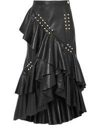 Rodarte - Embellished Ruffled Leather Midi Skirt - Lyst