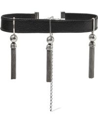 Sophie Buhai - Benton Gates Tasselled Silver And Textured-leather Choker - Lyst