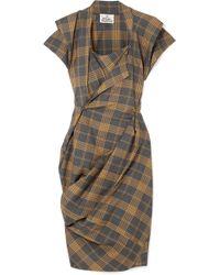 Vivienne Westwood - Grand Fond Draped Tartan Wool Dress - Lyst