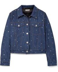 Miu Miu - Crystal-embellished Denim Jacket - Lyst