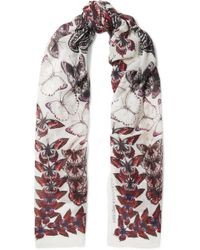 Alexander McQueen - Printed Modal And Wool-blend Scarf - Lyst