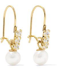 Loren Stewart - Lucille 14-karat Gold, Cubic Zirconia And Pearl Earrings - Lyst