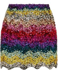 Ashish - Scalloped Sequined Cotton Mini Skirt - Lyst