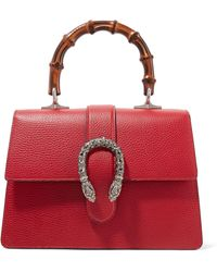 Gucci - Dionysus Bamboo Medium Textured-leather Tote - Lyst
