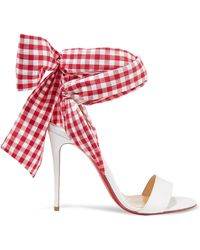 Christian Louboutin - Sandale Du Desert 100 Leather And Gingham Canvas Sandals - Lyst