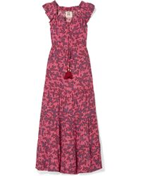 Figue - Gianna Ruffled Off-the-shoulder Floral-print Silk Crepe De Chine Maxi Dress - Lyst