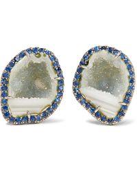 Kimberly Mcdonald - 18-karat Blackened White Gold, Geode And Sapphire Earrings - Lyst