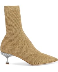 Miu Miu - Crystal-embellished Metallic Ribbed-knit Sock Boots - Lyst