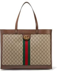 03886685f7f9 Gucci - Ophidia Textured Leather-trimmed Printed Coated-canvas Tote - Lyst