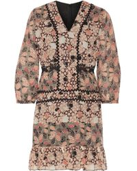 Anna Sui - Embellished Printed Silk-chiffon And Cotton-blend Voile Mini Dress - Lyst