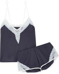 Skin - Gia And Genevieve Lace-trimmed Organic Pima Cotton-jersey Pyjama Set - Lyst