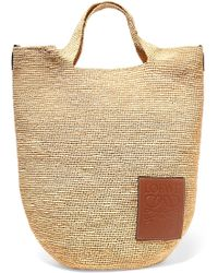 Loewe - Slit Leather-trimmed Woven Raffia Tote - Lyst f0a080ebc68ab