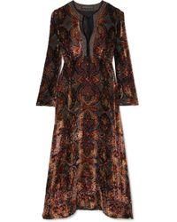 Etro - Flocked Georgette Midi Dress - Lyst