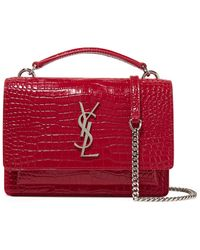 84dbe0c2496c Lyst - Saint Laurent Sunset Small Velvet And Leather Shoulder Bag in ...