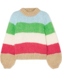 Ganni - Striped Mohair And Wool-blend Sweater - Lyst