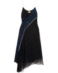 Jason Wu - Asymmetric Printed Silk-chiffon And Crepe De Chine Dress - Lyst