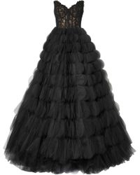 Oscar de la Renta - Strapless Corded Lace And Tulle Gown - Lyst
