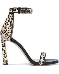 ccf0c7106493 Stuart Weitzman - Squarenudist Leather-trimmed Leopard-print Calf Hair  Sandals - Lyst